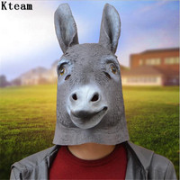 2019Full Face Halloween Donkey Mask Head Latex Party Costume Theater Props Party Novelty Creepy Animal Mask Christmas Masquerade