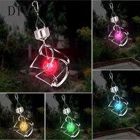 DIVV Solar Power light Wind Spinner LED Light Garden Courtyard Hanging Lamp Light 1Pc Dropship