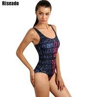 Riseado 2017 One Piece Swimsuit New Swimwear Women Letter Print Sports Backless Swimsuit Monokini Beach Summer