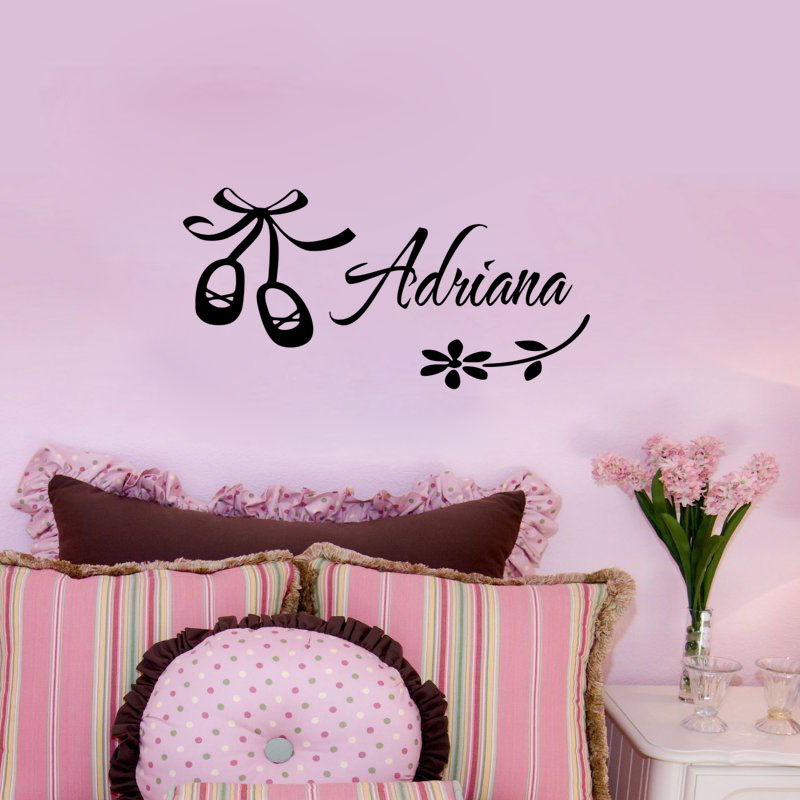 Customized Name Ballerina Shoes Wall Stickers Kids Bedroom Decor Vinyl Decorative Wall Decals Personalised Wallpaper Home