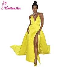 Satin Yellow Celebrity Evening Dress With Plunging V-Neckline Formal Party Gowns Vestido De Festa Longo Abiye Gece Elbisesi цена в Москве и Питере