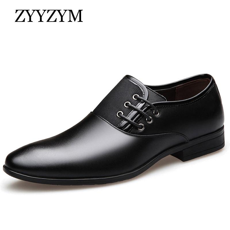 ZYYZYM Fashion Men Formal Shoes Size 38-47 Black Brown Classic Point Toe Men Dress Business Party Shoes