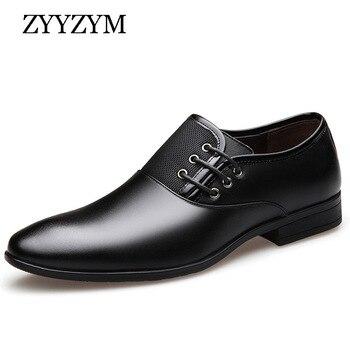 цена на ZYYZYM Fashion Men Formal Shoes Size 38-47 Black Brown Classic Point Toe Men Dress Business Party Shoes