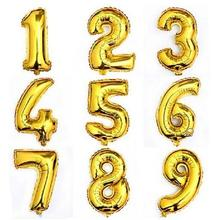 32inch Big Size Gold Number Balloon Aluminum Foil Helium Balloons Birthday Wedding Party Decoration Celebration Supplies