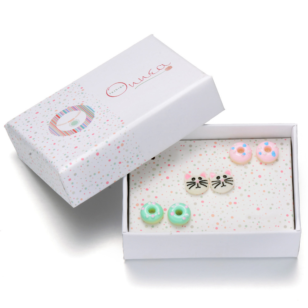 Onnea 3pairs Earrings sets Donuts Cat Stud Earrings For Girls Cute Candy colors Earring Sets Designer Girls Gift Fashion Jewelry earrings