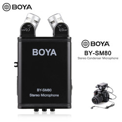 BOYA BY-SM80 Bi-directional Stereo Video Microphone with Windshield for Canon Nikon Pentax DSLR Camera Camcorder