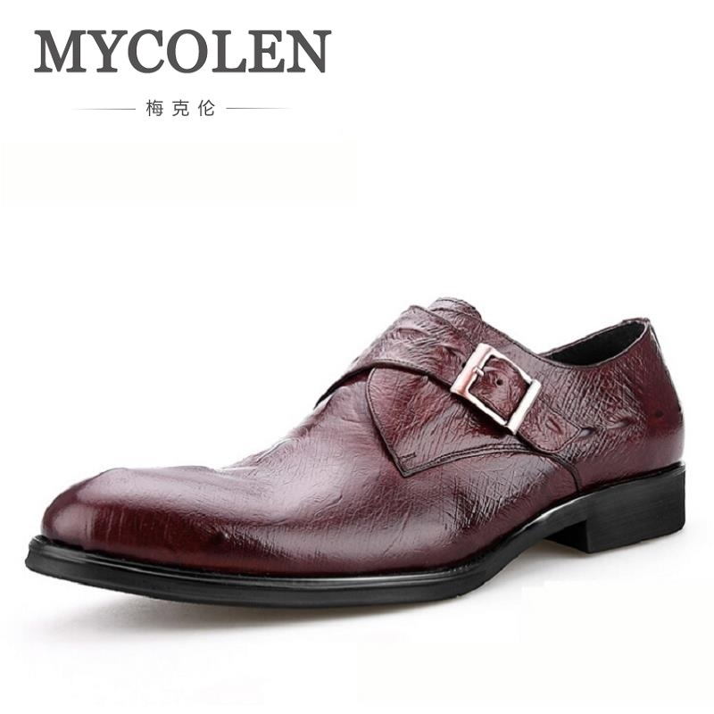 MYCOLEN Fashion Genuine Leather Mens Dress Shoes Brown Casual Business Male Shoes Men Crocodile Pattern Footwear Red Wine mycolen mens casual genuine leather flats loafers for men comfortable business wine red black crocodile print man leather shoes