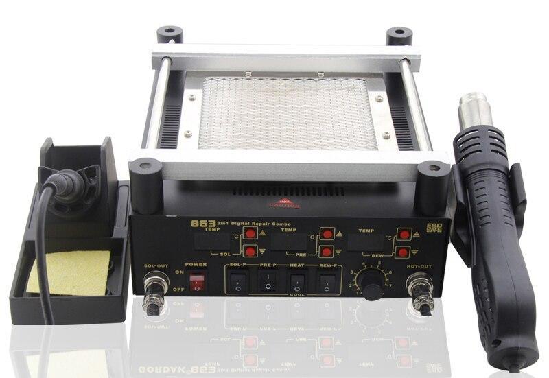 Gordak 863 3 in 1 Digita Hot Air Heat Gun BGA Rework Solder Station Electric Soldering iron IR Infrared Preheating Station 220V