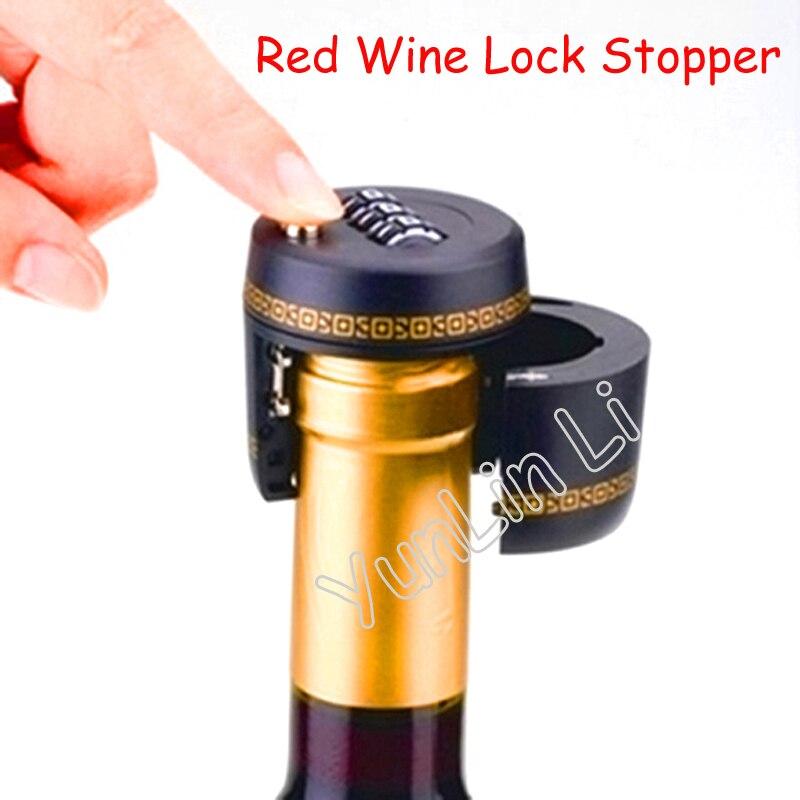 Plastic Bottle Password Lock Wine Lock Stopper 75Pcs Vacuum Plug Device Preservation Red Wine Hotel Bar Wine Bottle Cap J64