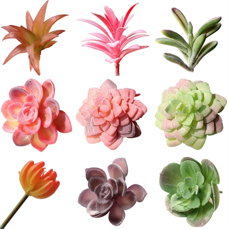 Warmth Home Simulation of meat flocking plants Mini Miniature Succulents Plastic Artificial Plants Home Party Decorations New