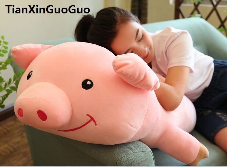fillings toy large 90cm pink pig plush toy prone pig soft doll hugging pillow birthday gift w2535 stuffed animal 120 cm cute love rabbit plush toy pink or purple floral love rabbit soft doll gift w2226