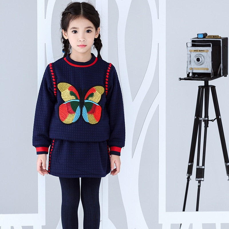 Children Clothing Sets Embroidery Butterflies Pullovers Baby Girls Clothes Set Brand Kids Tracksuits for Girls Sweatshirt+Skirts 2017 spring boutique baby girl pullovers puff skirts girls sets embroidery long sleeve tops korean tutu skirts suits 2pcs set