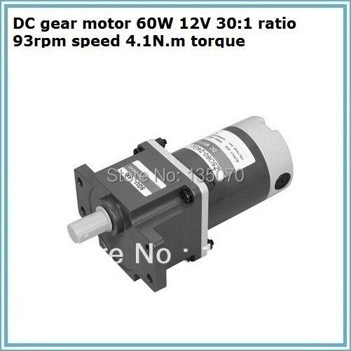 DC gear motor 60W 12V 30:1 ratio 93rpm speed 4.1N.m torque