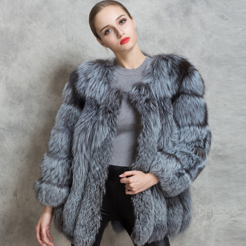 2d78c3b72 Detail Feedback Questions about BFFUR Fashion Natural Silver Fox Fur Coat  For Women Winter Fur Coats China Plus Size Support Customization Popular  Russian ...