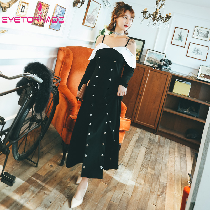 100% Waar Plus Size Vrouwen Lange Jurk Knop Decoratie Lange Mouwen Casual Vintage Maxi Jurken Sexy Strap Off De Schouder Boho Jurk