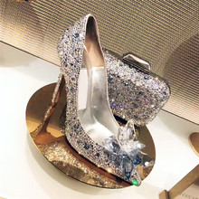 Celebrity Top Grade Cinderella Women Crystal High Heels Bridal Rhinestone Wedding Shoes Sexy Pointed Toe Crystal Flower Pumps цены