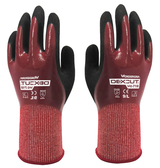 Вода - доказательство EN388 сократить 5 вэпэ порезов перчатки NBR нитрильного полностью золоте маслостойкий водонепроницаемый анти-вырезать рабочие перчатки