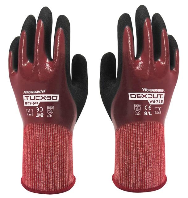 Water-proof EN388 CUT 5 HPPE Cut Resistant Gloves NBR Nitrile Fully Dipped Oil Resistant  Water Proof Anti Cut Work Gloves