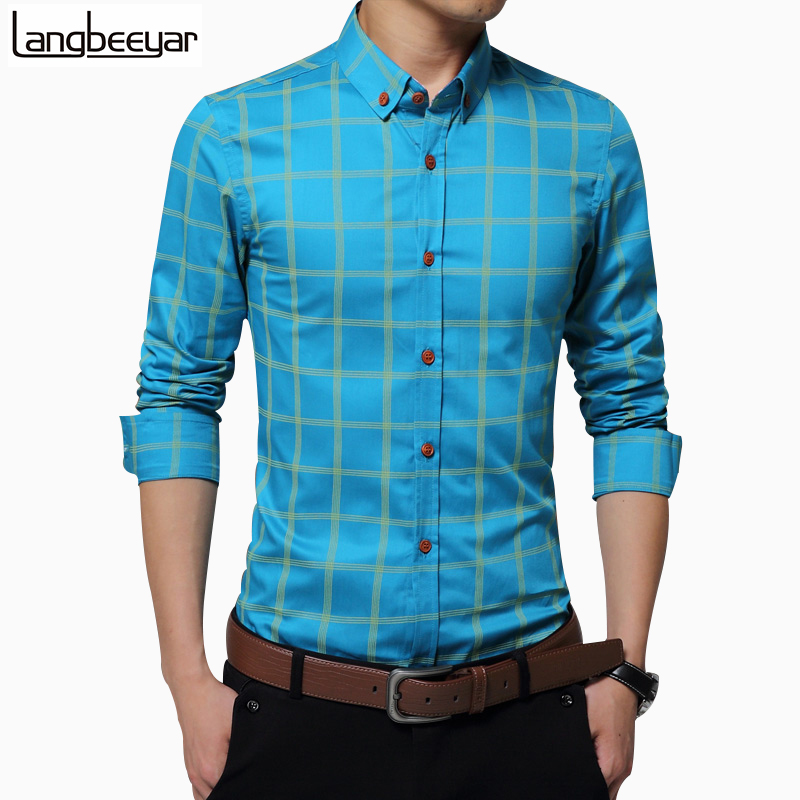 New Plaid Shirt Men Fashion Casual Long Sleeve Turn Down Slim Fit Shirt Men High Quality