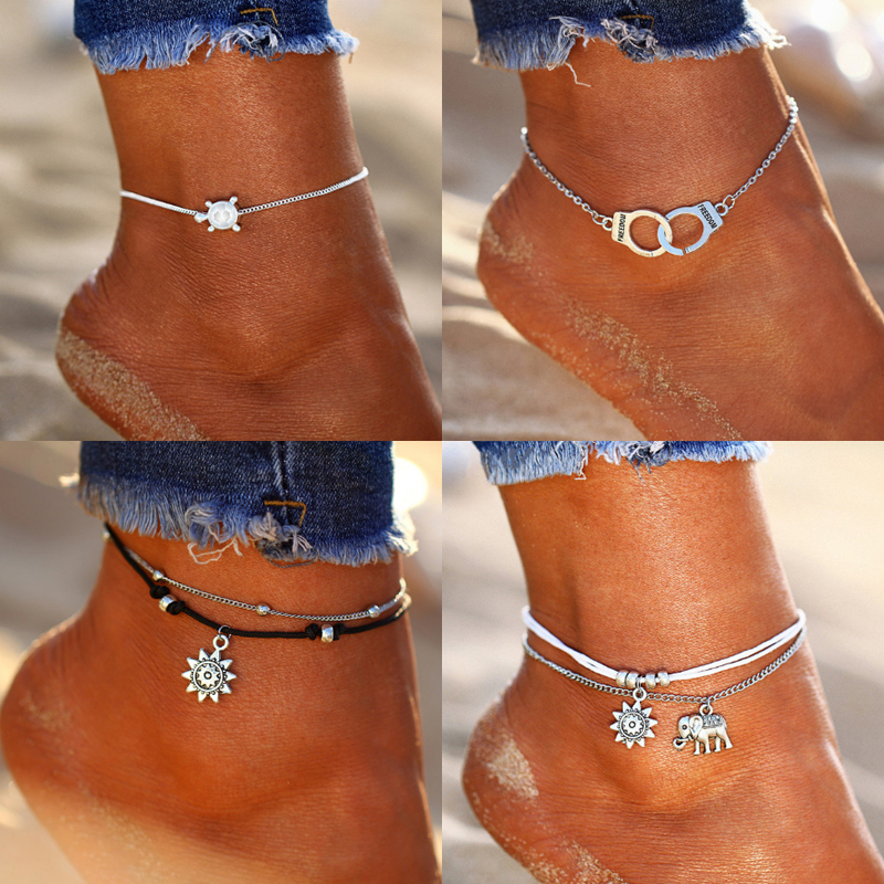 17MILE Vintage Sun Elephant Pendant Anklets For Women Multiple Layers Charm Rope Chain Ankle Bracelet Summer Beach Foot Jewelry