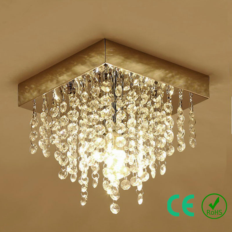 Us 58 47 30 Off Chandelier Light Freeled E14 K9crystal Metal Base Small Square Lamp Entryway Foyer Aisle Hotel Rosh Ce Custom Designed In Ceiling