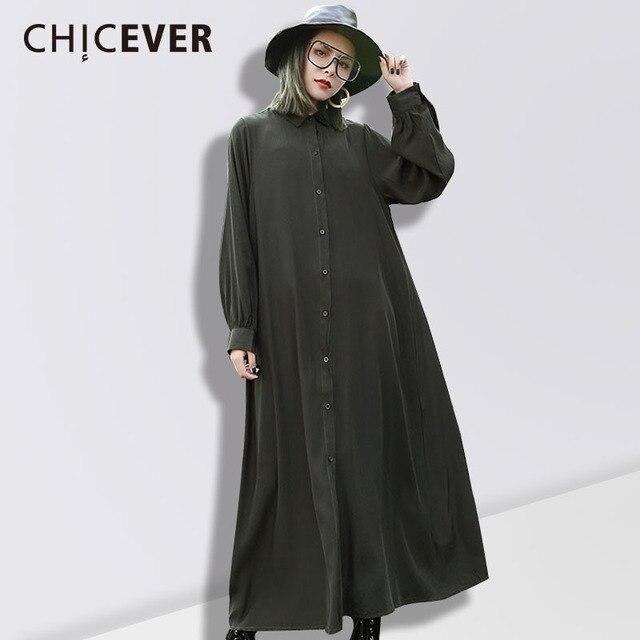 Chicever весна женское платье рубашка Женская туника с длинным рукавом черный 2018 Повседневное Для женщин Платья для женщин большой Размеры Костюмы Мода