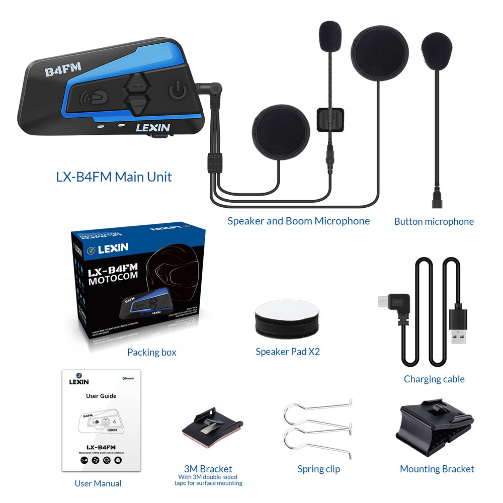 Image 4 - Lexin 1PCS 1500M 4 Ways Multi function Intercom Motorcycle Bluetooth Helmet Waterproof Group talk Headset with FM function-in Helmet Headsets from Automobiles & Motorcycles