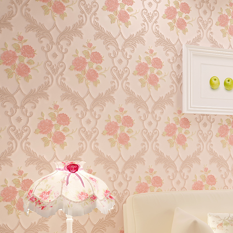 beibehang Pastoral pink flowers Modern Floral Embossed 3D Wallpaper Background Wall Paper For Living Room Desktop Wallpaper roll