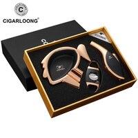 CIGARLOONG Cigar Ashtray Cigar Lighters Cigar Cutter 3pcs Set Cigar Smoking Boxes CQ 01