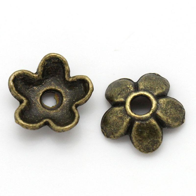 "DoreenBeads Zinc Metal Alloy Beads Caps Flower Antique Bronze(Fits 8mm-14mm Beads)Flower Pattern 7mm(2/8"")x 6mm(2/8""),95 PCs new(China)"
