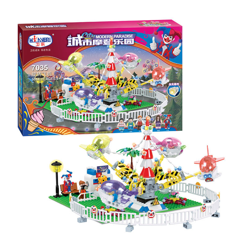 City Series Girl Friends Modern Paradise Rotating aircraft With Lighting  Building Block Toys Compatible with Lepin new 7033 friends series the city park cafe pirate ship model building block classic girl toys compatible with lepin