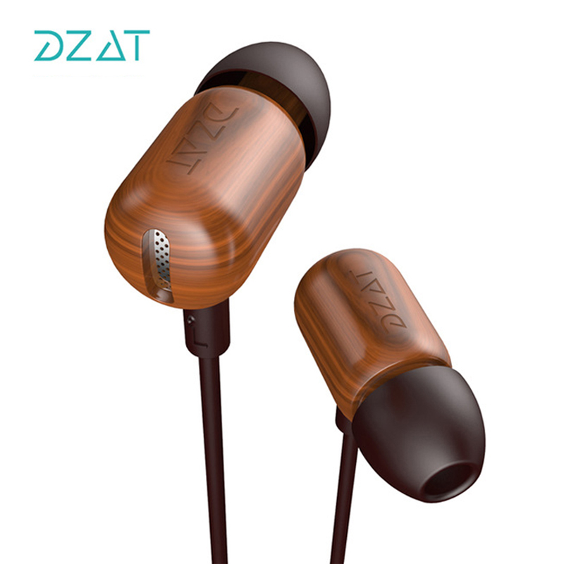 DZAT DF-10 3.5mm In Ear Earphone DIY Wooden DJ Earphones Pure Wood Heavy Bass Music HIFI Earbuds With Mic For Smartphones