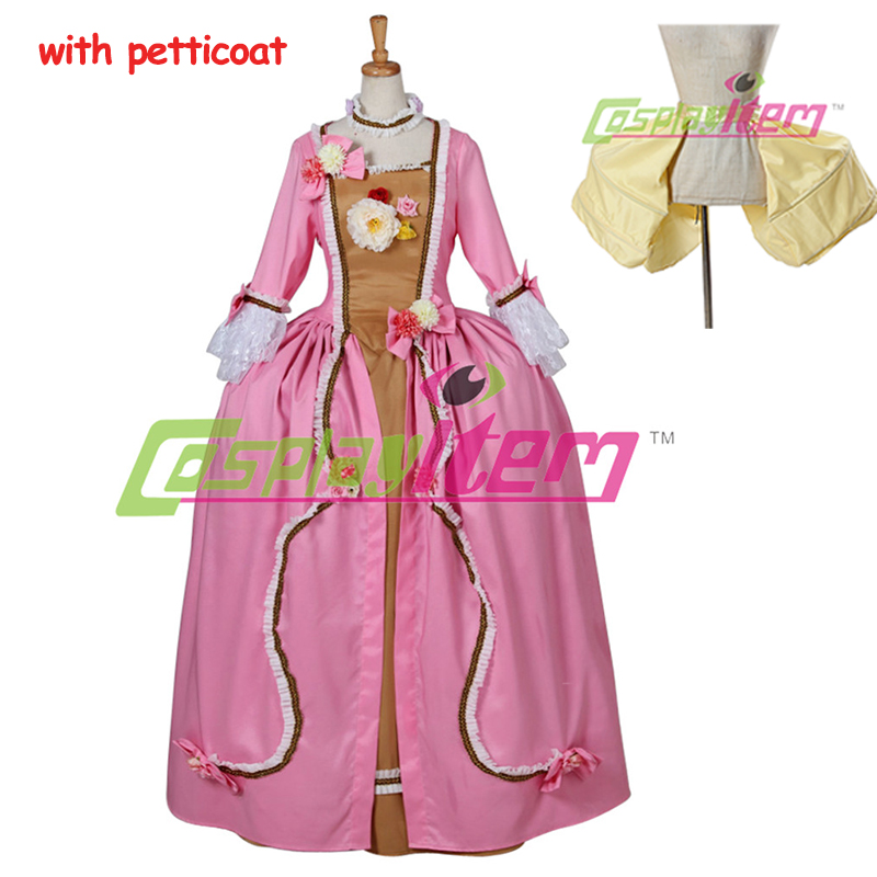 Pink Rococo Baroque Cosplay Costume Gown Dress victorian Marie Antoinette Medieval Aristocrat Gothic - Cosplayitem COS store