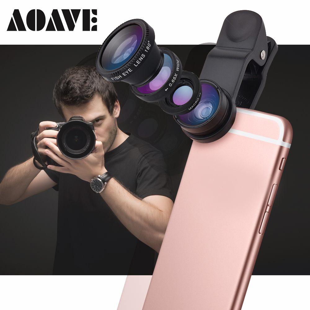 Aoave Universal 3in1 Wide Angle Macro Fisheye Lens Camera Mobile Phone Lenses Fish Eye Lentes For iPhone Smartphone Accessories