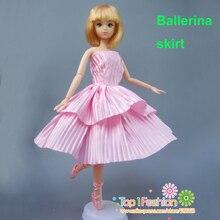 bfc49fa89 شحن مجاني 1 قطعة جودة كامل حول فستان قصير الباليه الوردي ثوب ل دمية باربي