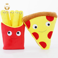 Cute Cartoon Expression Pizza French Fries Cushions Creative Pizza Fries Plush Stuffed Toys Home Decoration