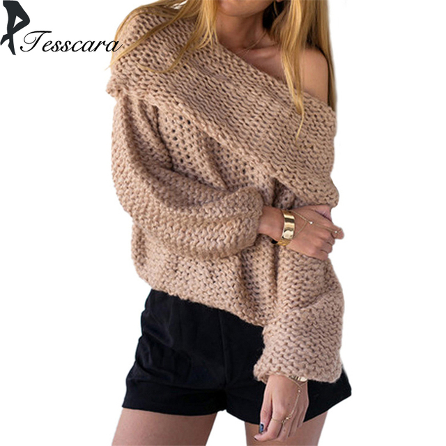 Brand Women Autumn Knitting Pullover Female 2018 New Fashion Shoulder Less  Sexy Long Streetwear Sweater Winter Warm Outwear Coat 92e726336