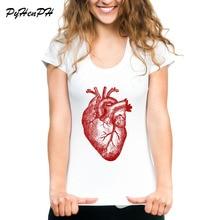 PyhenPh marca Vintage Anatomía del corazón camiseta para mujer impresa Cool camisetas de manga corta cuello redondo mujeres camiseta Mujer