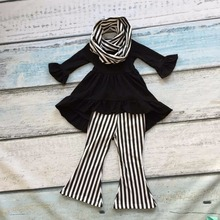 FALL/Winter scarf set children suit baby girls black striped Bell-bottoms cotton 3pieces white black pants boutique clothes