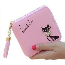 e45386467 Titular de la tarjeta femenina Pu bolso de cuero con cremallera cartera  corta dinero embrague mujeres bolso lindo nuevo gatito p.