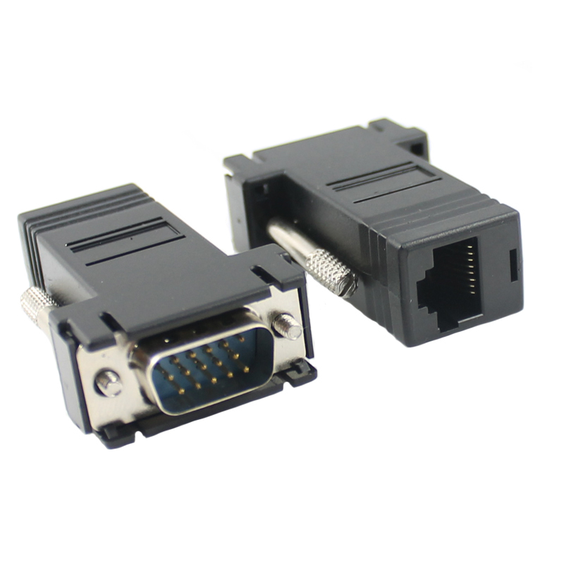 10pcs/lot 15PIN VGA to RJ45 connector New VGA Extender Male To Lan Cat5 Cat5e RJ45 Ethernet Female Adapter