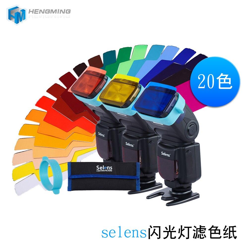 20 unids Selens SE-CG20 Flash Gel filtros de Color para Metz Godox D7100 SB910 Speedlite Flash Flashgun de Control de iluminación modificador