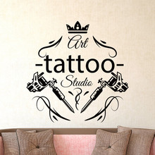 Tattoo Salon Wall Sticker Parlor Shop Studio Tools Flower Decal Beautiful Art Club Vinyl Window Decor