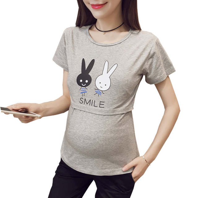 b3a9065405e7e Funny Maternity Shirts Breastfeeding Tops Cute Nurse Cheap Maternity  Clothing T shirt Women Summer Cartoon Rabbit Clothes Women