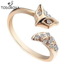 Todorova Silver Gold Vintage Jewelry Cute Fox Ring Crystal Animal Accessories Engagement Wedding Ring for Women Bijouterie China