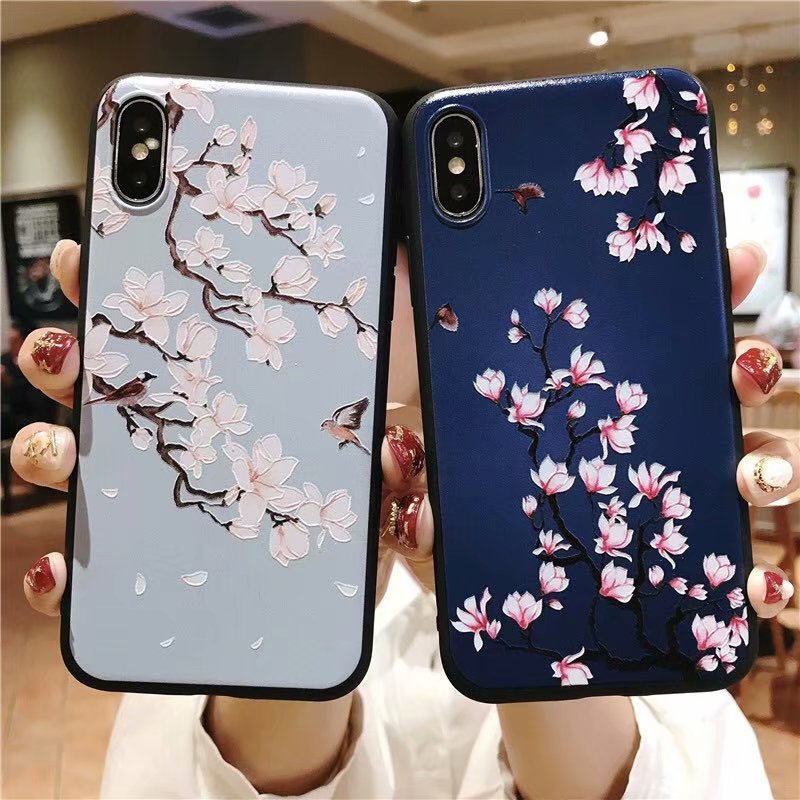 KIPX1051_2_JONSNOW 3D Emboss Flowers Soft Case for iPhone XS XR Cases for iPhone 6S 7P 8 Plus XS Max Phone Cover