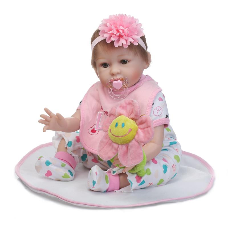 2017 New 20 Realistic Baby Reborn Doll Reborn Babies Silicone Lifelike Baby Dolls Kids Growth Partners Birth Reborn Juguetes partners cd
