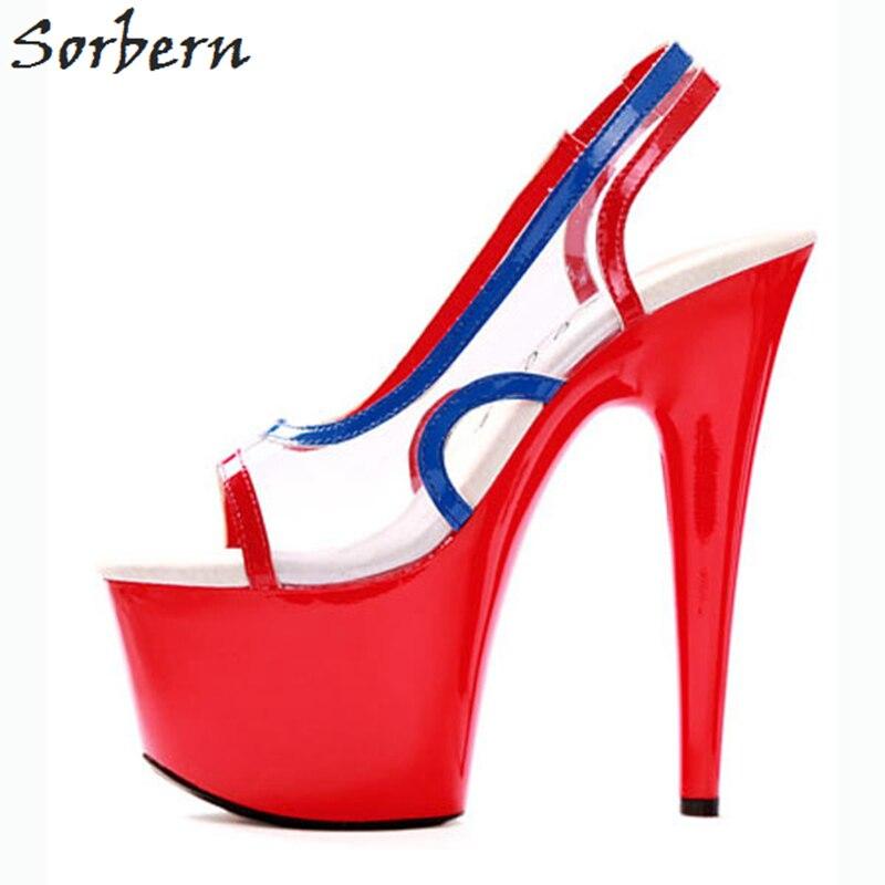Здесь продается  Sorbern Clear PVC Womens Pumps Stilettos Summer 2018 Extrem High Heels Peep Toe Slingbacks Pump 17Cm Heels Women Shoes Slip On  Обувь