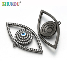 19*37mm Turkish Evil Eyes Brass Cubic Zirconia Charms Pendants DIY Jewelry Findings Accessories, Hole: 1mm, Model: VD150