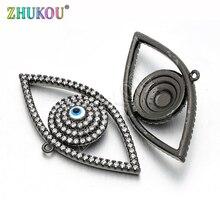 Pendentifs en laiton, zircone cubique, breloques, accessoires, trou: 1mm, modèle: VD150 19*37mm